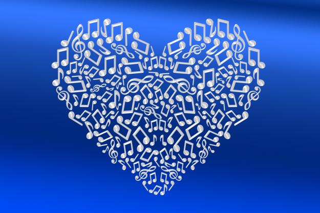 Herz aus Musiknoten
