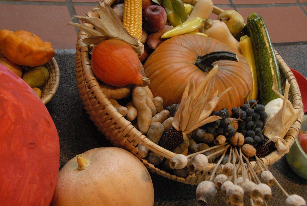 Kürbisse, Weintrauben, Zucchini